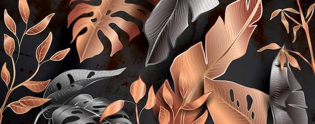 Motivi floreali in colori metallizzati nero e rame fanno da sfondo per decorazioni e striscioni.