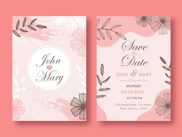 Carta di invito matrimonio floreale rosa, layout modello con dettagli evento nella vista anteriore e posteriore.