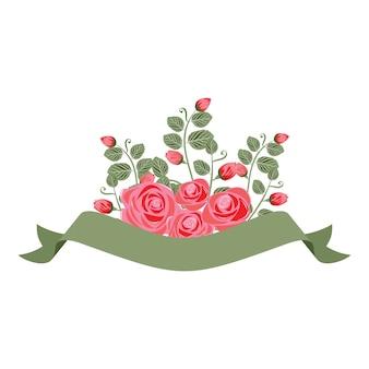 Banner di nastri floreali con bella decorazione floreale