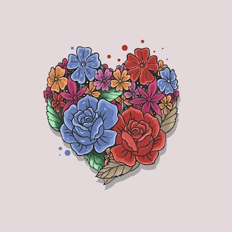 Illustrazione di forma di cuore rosa floreale