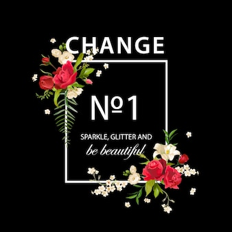 Floral rose and lily graphic design per t-shirt, moda, stampe in