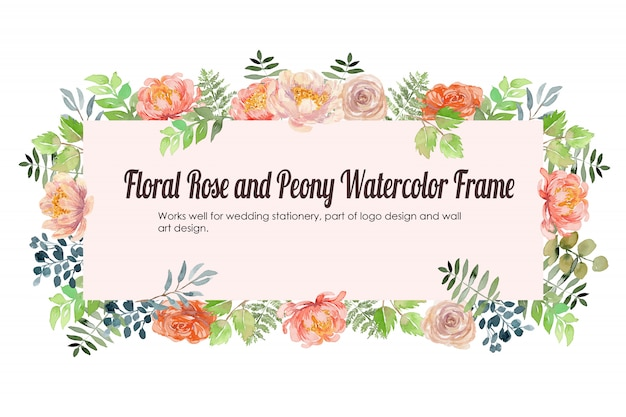 Fondo floreale dell'acquerello della rosa e della peonia