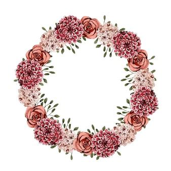 Corona rotonda floreale di fiori ad acquerelli