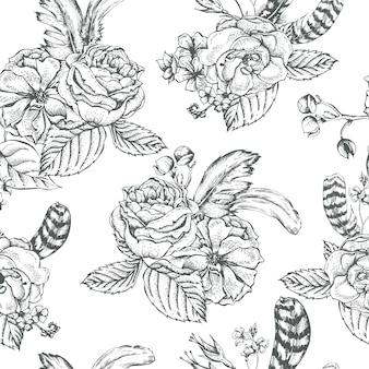 Floral background senza soluzione di continuità con rose e piume