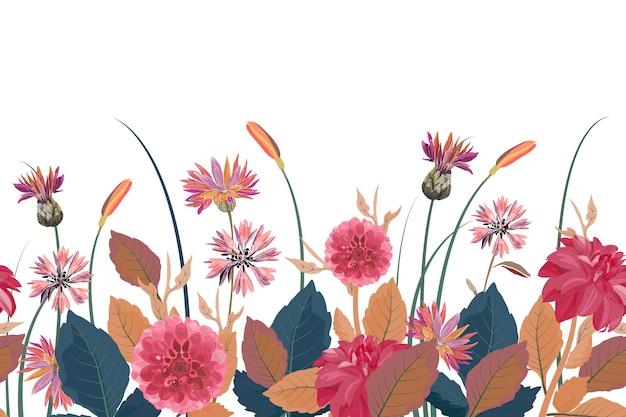 Bordo floreale senza soluzione di continuità. sfondo di fiori con fiordalisi dalie cardi fiori blu foglie marroni