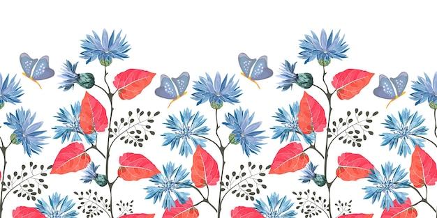 Bordo floreale senza soluzione di continuità con foglie