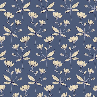 Motivo floreale senza soluzione di continuità. bella trama botanica ripetuta con rami, foglie e fiori per stampa, tessuto, tessuto, carta da parati in colori tenui. illustrazione di inchiostro disegnata a mano in stile art line.