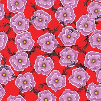 Modello senza cuciture floreale che sboccia fiori viola.