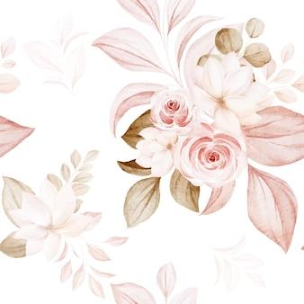 Motivo floreale senza soluzione di continuità di rose acquerello marrone e pesca e composizioni di fiori selvatici