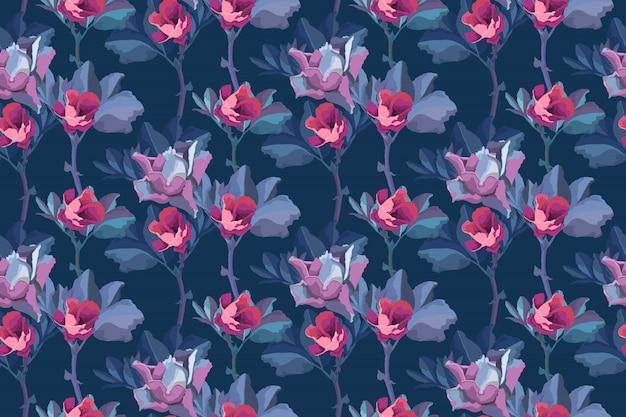 Motivo floreale senza soluzione di continuità. sfondo di fiori. piccoli boccioli rosa di rose, foglie blu isolato su sfondo blu navy.