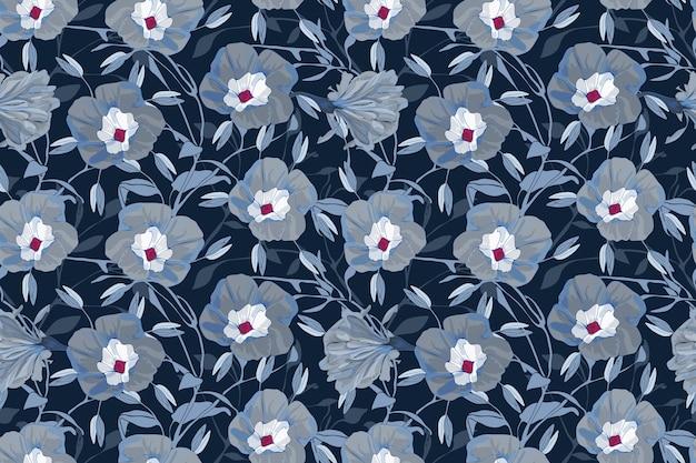 Motivo floreale senza soluzione di continuità. fiori, rami e foglie di gloria di mattina grigi e blu.