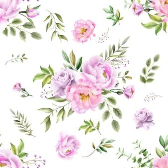 Acquerello di peonia motivo floreale senza soluzione di continuità