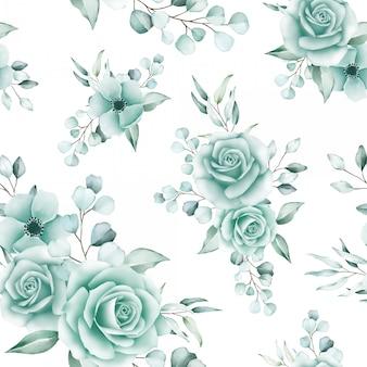 Motivo floreale senza soluzione di continuità di rose e foglie di eucalipto