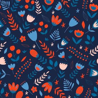 Motivo floreale senza soluzione di continuità stile scandinavo illustrazioni con elementi floreali decorativi stilizzati