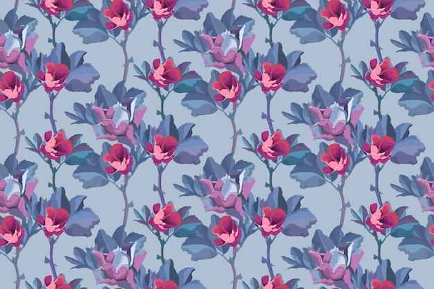 Motivo floreale senza soluzione di continuità piccoli boccioli rosa di rose, foglie blu isolate