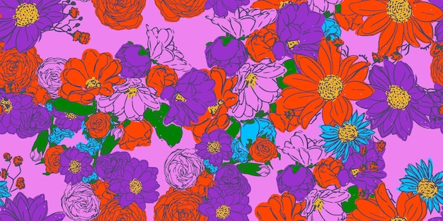 Motivo floreale senza soluzione di continuità. disegno vettoriale per carta, tessuto, decorazioni d'interni e copertina