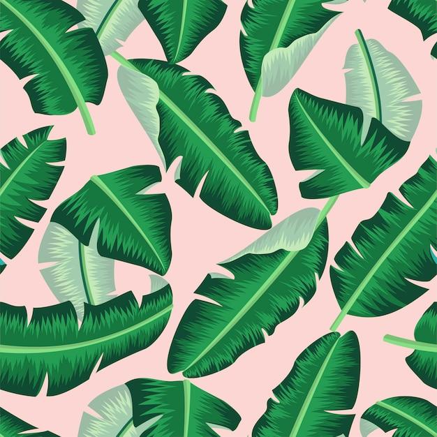 Motivo floreale senza soluzione di continuità con foglie di banano sfondo tropicale