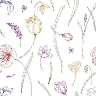 Motivo floreale senza soluzione di continuità con bellissimi fiori da giardino in fiore disegnati con linee di contorno colorate su sfondo bianco.