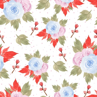 Modello senza cuciture floreale con belle rose blu e rosa