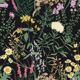 Motivo floreale senza soluzione di continuità con bellissimi fiori che sbocciano selvatici sul nero