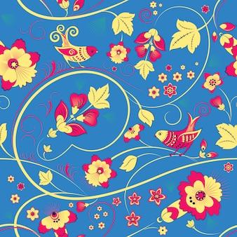 Modello senza cuciture floreale con uccelli sul blu