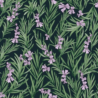 Motivo floreale senza soluzione di continuità con rosmarino in fiore