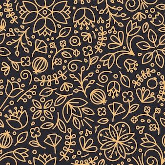 Motivo floreale senza soluzione di continuità con fiori di campo in fiore e bacche disegnate con linee di contorno sul nero.