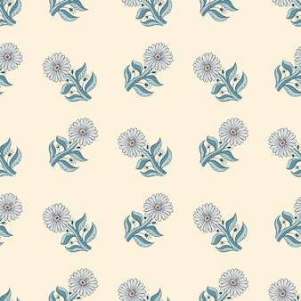 Motivo floreale senza soluzione di continuità con elementi di girasole blu. sfondo chiaro. sfondo estivo in stile disegnato a mano. illustrazione vettoriale per stampe tessili stagionali, tessuti, striscioni, fondali e sfondi.