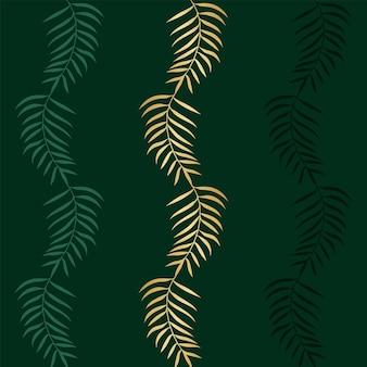 Motivo floreale senza soluzione di continuità con palme esotiche colorate verde e oro rami su sfondo verde. illustrazione vettoriale astratta con piante tropicali per carta da parati, poster, carta.