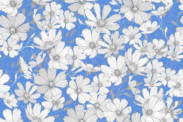 Motivo floreale senza soluzione di continuità con il fiore dell'universo.