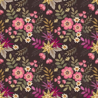 Motivo floreale senza soluzione di continuità con diversi fiori sullo sfondo marrone scuro
