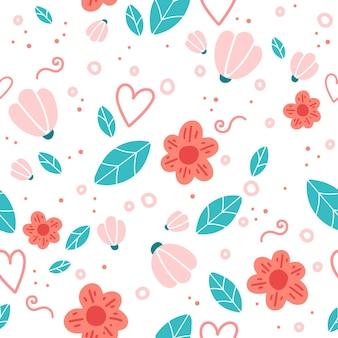Motivo floreale senza soluzione di continuità con fiori e foglie di doodle.
