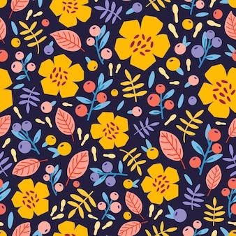 Motivo floreale senza soluzione di continuità con piante fiorite e bacche sul nero