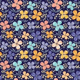 Motivo floreale senza soluzione di continuità con fiori che sbocciano e foglie. disegno disegnato a mano