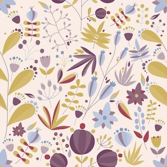 Motivo floreale senza soluzione di continuità con fiori e piante in sfondo chiaro
