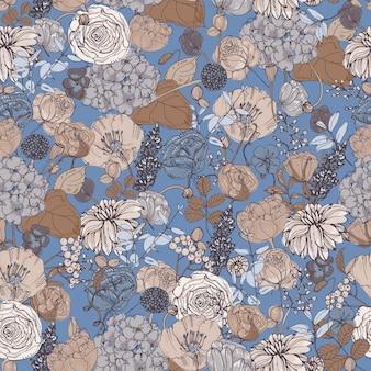 Motivo floreale senza soluzione di continuità con fiori, sfondo vintage