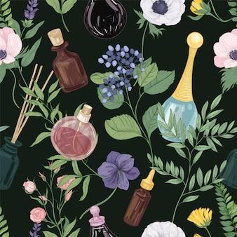 Motivo floreale senza soluzione di continuità con splendidi fiori che sbocciano teneri e profumo in bottiglie di vetro o boccette sul nero.