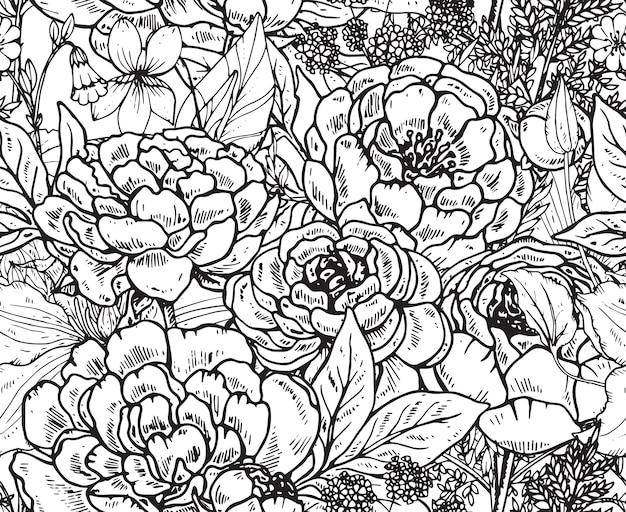 Modello senza cuciture floreale con fiori di peonia disegnati a mano ed erbe per tessuti, tessuti, carta. bellissimo sfondo floreale bianco e nero.