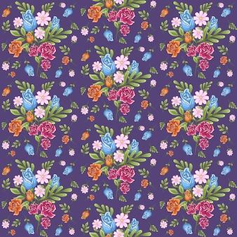 Motivo floreale senza soluzione di continuità con foglia, sfondo floreale in colori pastello