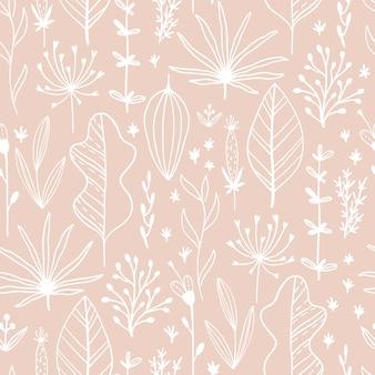 Motivo floreale senza soluzione di continuità con foglie ed erbe. illustrazione al tratto schizzo disegnato a mano in semplice stile scandinavo in limitato colore pastello. ideale per la stampa su tessuto, tessuto, imballaggio, carta da parati