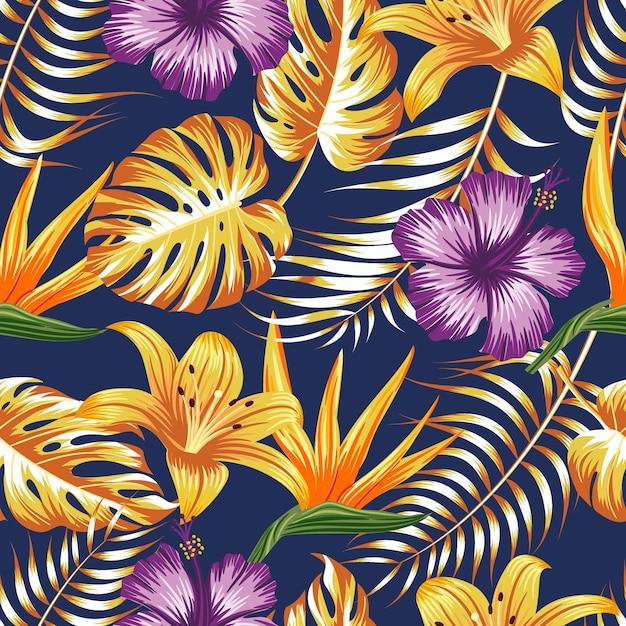 Motivo floreale senza soluzione di continuità con sfondo tropicale di foglie