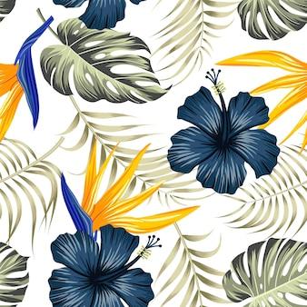 Motivo floreale senza soluzione di continuità con le foglie. sfondo tropicale