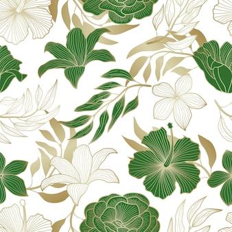 Motivo floreale senza soluzione di continuità con foglie sfondo tropicale