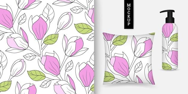 Motivo floreale senza soluzione di continuità con magnolie in stile disegnato a mano