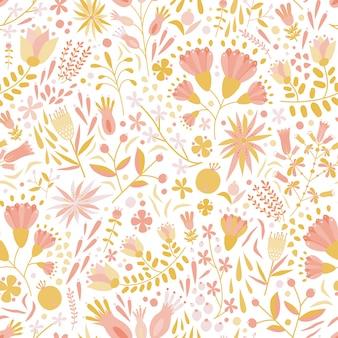 Motivo floreale senza soluzione di continuità con fiori eterogenei e piante fiorite su sfondo bianco