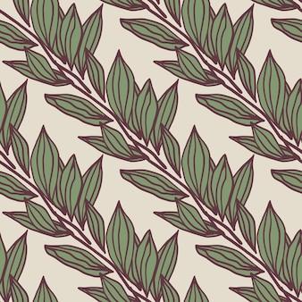 Motivo floreale senza soluzione di continuità con sagome di fogliame contorno su sfondo chiaro. ornamento botanico verde con contorno viola.