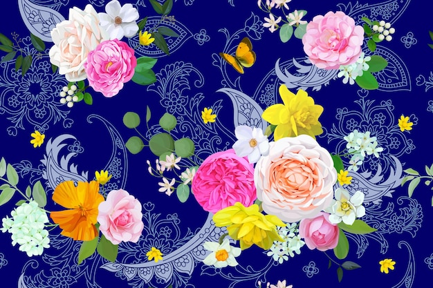 Motivo floreale senza cuciture con paisley