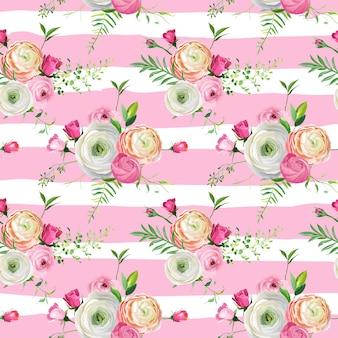 Motivo floreale senza soluzione di continuità con rose rosa e fiori di ranuncolo. sfondo botanico per tessuto tessile, carta da parati, carta da imballaggio e decorazioni. illustrazione vettoriale