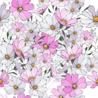 Motivo floreale senza soluzione di continuità con fiori rosa e bianchi.