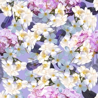 Modello senza cuciture floreale con fiore di plumeria e ortensia
